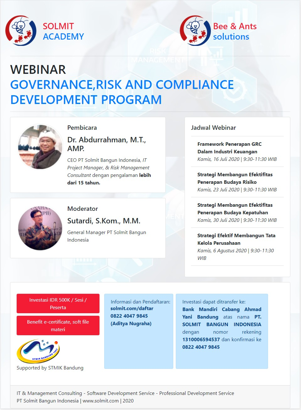 GOVERNANCE RISK & COMPLIANCE PROGRAM (JULI)