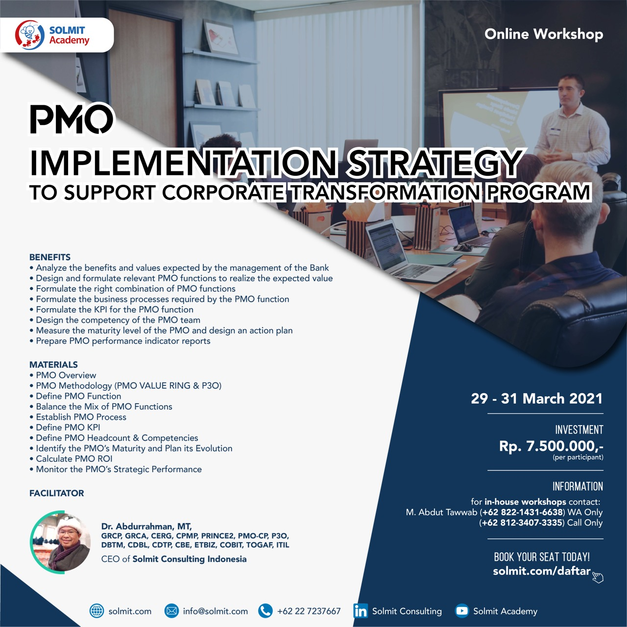 Online Workshop - PMO - Implementation Strategy To Supprot Corporate Transformation Program