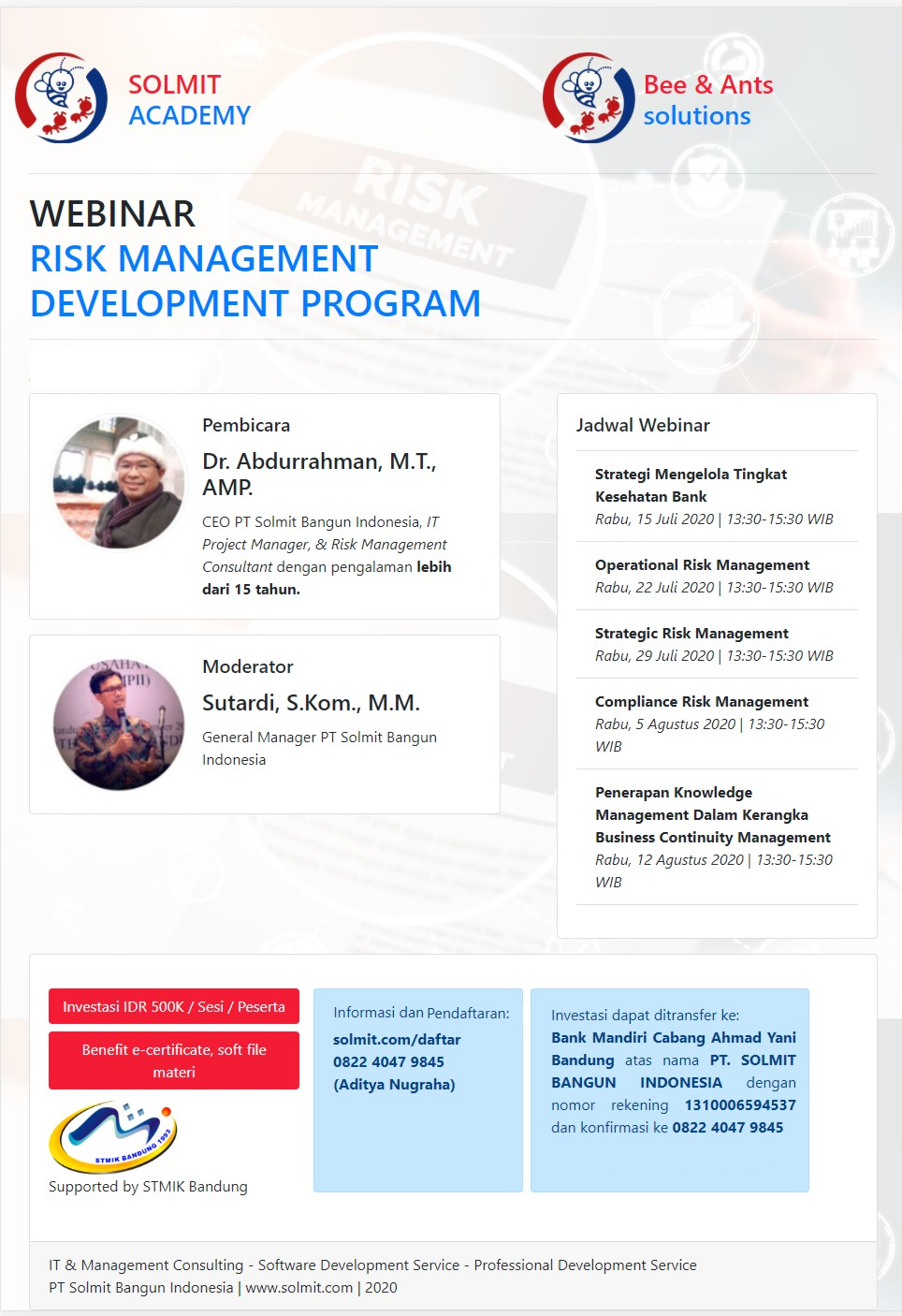 RISK MANAGEMENT DEVELOPMENT PROGRAM (JULI)