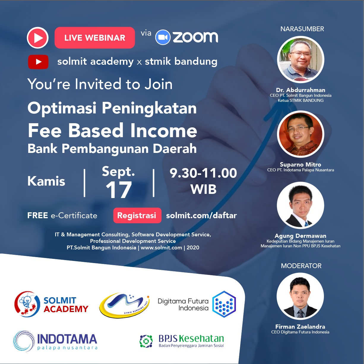 WEBINAR OPTIMASI PENINGKATAN FEE BASED INCOME BANK PEMBANGUNAN DAERAH