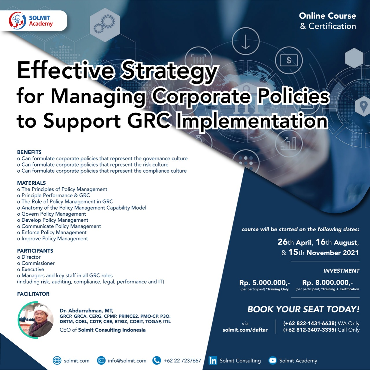 Online Course & Certification -  Effective Strategy for Managing Corporate Policies to Support GRC Implementation